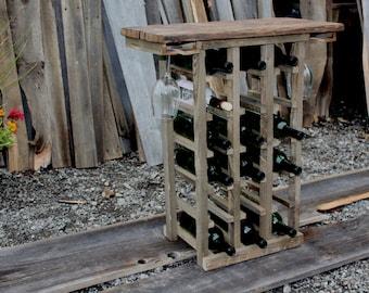 18 Bottle Wine Rack, Rustic Wine Rack, Barn Wood Wine Rack, Wine Glass Storage, Free Standing