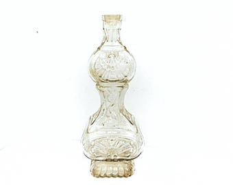 French Vintage Pressed Glass Bottle (C402)