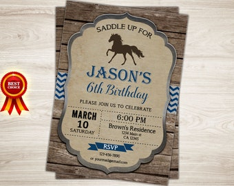 Horseback Riding Birthday Party Invitation. Rustic Horseback Riding Invitation. Boy Equestrian Invitation Printable Pony 6th Birthday Invite