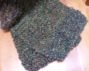 Handmade infinity or regular knit chunky scarf with rust, blue, gold and red. Free domestic USPS priority shipping!!