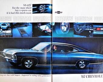 1967 Chevrolet SS 427 ad.  1967 Chevy Impala SS 427 Sport Coupe.  Vintage Chevy SS 427 ad.  2 pages. Life Magazine.October 28, 1966.