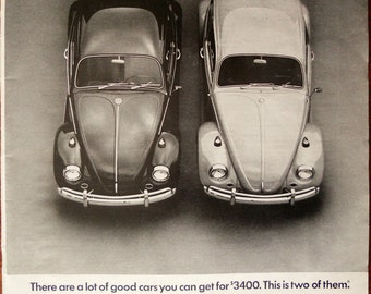 1967 VW Beetle ad.  1967 VW Beetle ad.  Volkswagen Beetle ad.  Black and white.  Time Magazine.  August 18, 1967.