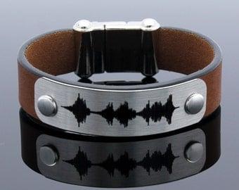 Personalized Bracelet, Sound Waves Bracelet, Voice Recording, Keepsake Bracelet, Mementos Gift, Wedding Anniversary Gift, soundwave jewelry