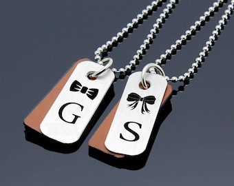Couples Initials Necklace, Couples Jewelry, Custom Matching Necklace, Personalized Jewelry, Couples Set, Personalized Gifts, Couples Gifts