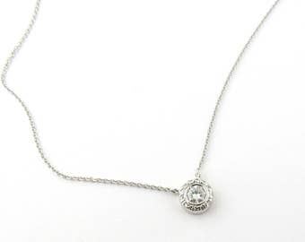 Vintage 14K White Gold Bezel Set Diamond Necklace #1350