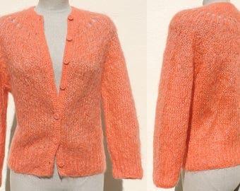 Vintage 1960s Orange Mohair Wool Blend Italian Hand Knit Cardigan Sweater Openwork Yoke Small