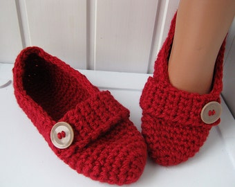 Slippers, house shoes, slippers crochet, knitted socks, red slippers domestic, Slippers for women, gift, ready to send.