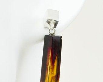 Handmade Baltic Amber Earrings. Unique Cognac Cherry Jewelry. Geometric Amber Earrings with Sterling Silver. Women Earrings. Amber Gift.