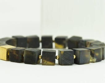 Handmade Baltic Amber Bracelet. Mens Black Bracelet. Matt Cubes. Bracelet for Him.  Amber & Silver Jewelry.