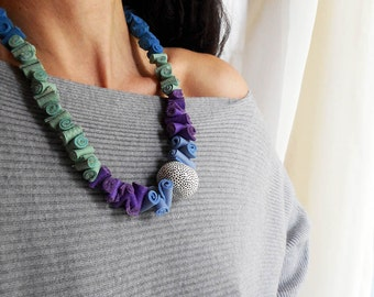 Bib Necklace,Colorful leather necklace,women's jewelry,morden,handmade,minimal,statement leather,gifts ideas,Free Shipping