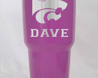 10 20 30 oz colster YETI or RTIC Kansas State Wildcats powder coated or stainless laser engraved