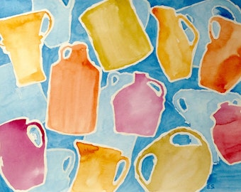 """9x12"""" on paper, Ascending Pottery in Soft Tones"""