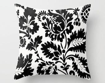 Floral Pillow Cover, Black & White Cushion, Modern Throw Pillow, Flower Accent Pillow, Elegant Pillow, Vintage Wallpaper, Modern Living Room