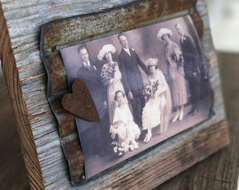 Rustic Old Barn Tin and Barn Wood Magnetic Picture Frame