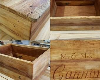 Recycled Wood Wedding Box  / Personalised Box / Keepsake Box / Memory Box