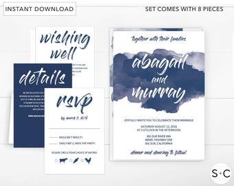 Navy Watercolor Wedding invitation Template, Navy Blue Wedding invitation, Wedding invitation Set, Printable Wedding invitations