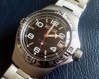 USSR VOSTOK AMPHIBIA Compas Bezel Automatic Diver Watch, Vostok Diver Watch, Russian Vostok Amphibia Diver Watch,Vostok Automatic Wristwatch