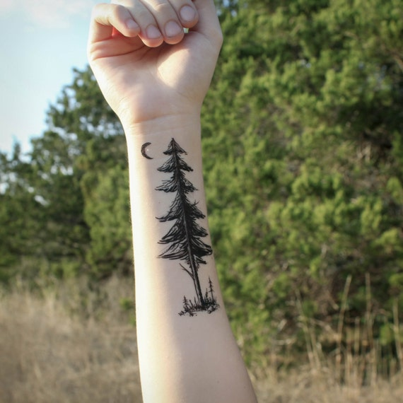 Forest Pine, Saplings & Moon Temporary Tattoo, Pine Tree Silhouette, Forest Scene, Nature Tattoo