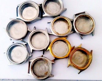 10pcs Vintage Watch Parts Case with Back Cover Steampunk Aletered Art Dia approx 25mm