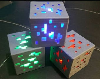 Minecraft inspired Diamond Ore LED light