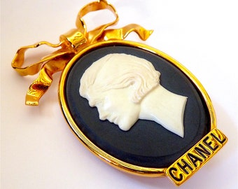 Authentic CHANEL Brooch, Ultra Rare Vintage 90s, Cameo Brooch with Coco Chanel Profile, Jewelry Gift Idea for Her, Free Shipping