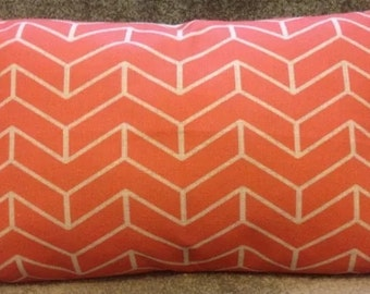 Coral chevron arrows double-sided cushion cover 30x50cm rectangle bolster linen fabric