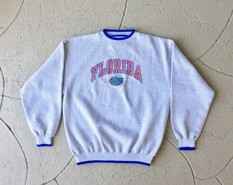 Vintage 90s UF sweatshirt / retro 80s University of Florida gators sweater / college football ncaa orange blue jacket windbreaker fsu shirt