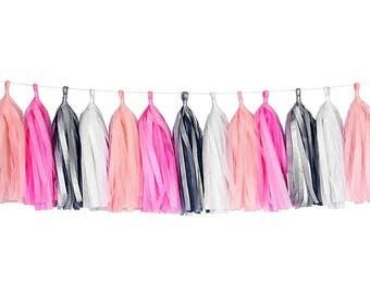 Pink + Coral + White + Gray | Tassel Garland | Tissue Tassel Garland | FOLI + LO