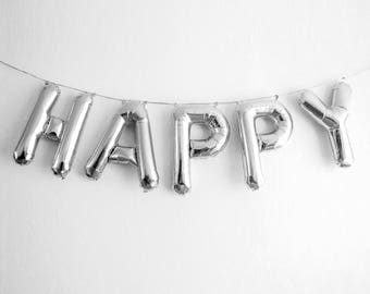 "HAPPY Letter Balloons | 16"" Silver Letter Balloons 