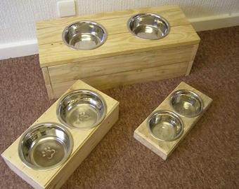 medium handmade  Dog feeding station