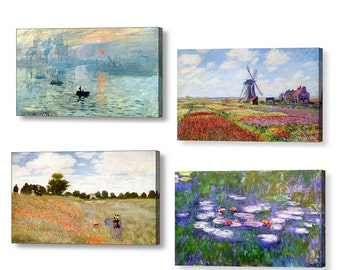 Claude Monet Canvas Box Collection, 4 x Beautiful Canvases, sunrise, Tulip fields, Poppy field, Water Lilies, Various sizes