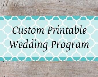 Custom Wedding Program, Printable Wedding Program, Wedding Ceremony Program, Wedding Program Designs, Wedding Reception Program, Digital
