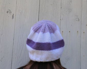 Purple Stripes Hat - Purple Slouchy Hat - White Slouchy Hat - Purple Slouch - Knit Slouch Hat - Striped Slouch Hat - Extra Slouchy Hat