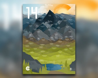 Colorado Fourteeners - 14ers Print - Rocky Mountains, CO - Rockies High Peaks - Hiking Decor Poster - Wall Art Graphic Design - 18x24