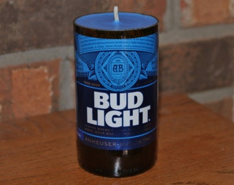 Bud Light Beer Bottle Candle, Soy Wax, Fresh Rain Scent