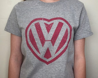 Womens T-shirt With VW Love Distressed Logo.  Full front print on a 100% cotton preshrunk Tee. Heather Grey or White, Pink Print.