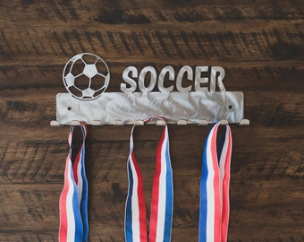 Soccer Medal Display, Soccer with Ball Display, Sports Medal Hanger, Sports Theme Room Decor, Sports Medal Holder, Awards Display