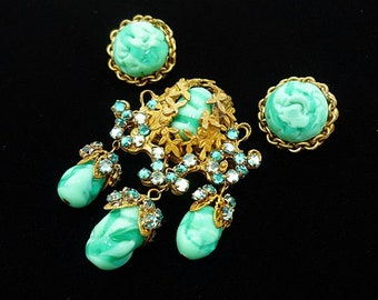 Vintage SIGNED Miriam Haskell Turquoise Brooch Earring Set, Miriam Haskell Jewelry, Miriam Haskell Brooch, Antique Jewelry Set