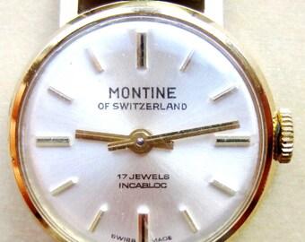 Vintage Swiss Ladies Gold Plated Montine of Switzerland 17J Mech Bracelet Watch
