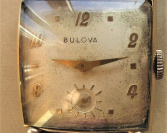 1940s Gents Swiss Bulova 10AK 17J Mechanical Tank Watch+ Sub Dial