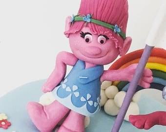 Poppy troll fondant cake topper