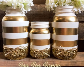 Gold and white stripe mason har centerpieces