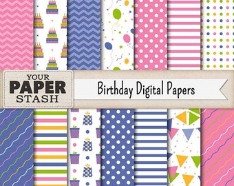 Birthday Digital Paper Pack, Pink, Blue, Boy, Girl, Balloons, Confetti, Banner, Scrapbook Paper, Background, Instant Download Commercial Use