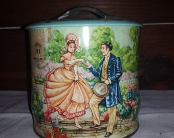 Vintage English  Candy Confections Tin by Regal Crown, Victorian Lady and Gentleman in the Gardens, made in Engand