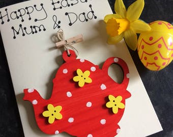 Personalised Easter Card with a detachable, hand painted, wooden, teapot decoration.