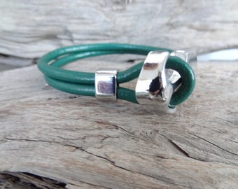 EXPRESS SHIPPING,Green Leather Bracelet, Spring Fashion Bracelet, Women Anchor Bracelets, Chrome Anchor Hook Bracelet, Gifts for Girlfriend