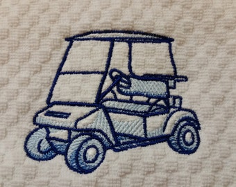 Embroidered Golf Cart Hand Towel - Golf Cart Golf Towel - Golf Decor - Women's Golf - Golf Gift - Golf Bathroom - Golf Towel Personalized