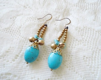 Turquoise & Coral dangle earring, Tinkling bell dangle earring