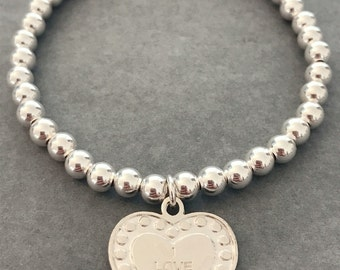 Sterling Silver 'I LOVE YOU' Charm Bracelet
