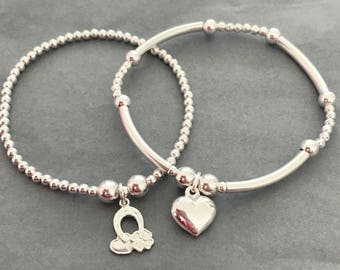 LOVE & LUCK Stack of 2 Sterling Silver Charm Bracelets
